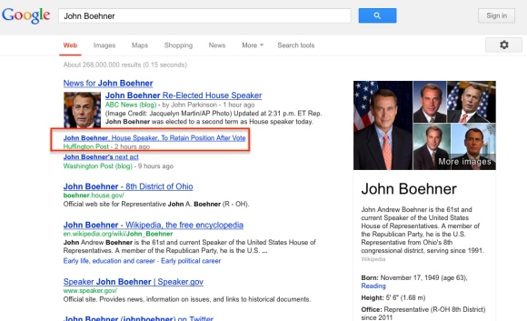 "Google search for ""John Boehner"""